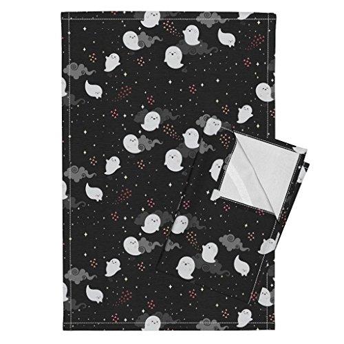 Ghost Tea Towels Spooky Wooky by Kimsa Set of 2 Linen Cotton Tea Towels -
