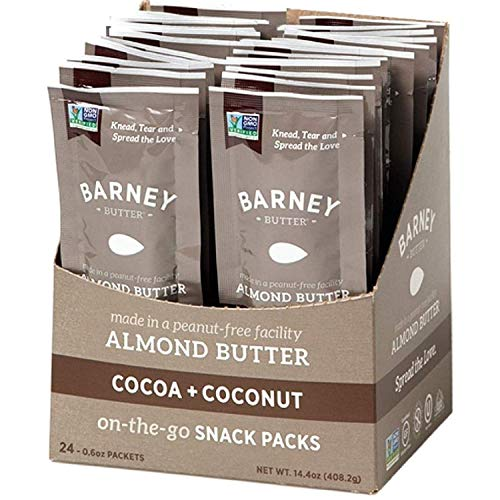 Barney Butter Almond Butter Snack Pack, Cocoa + Coconut, 0.6 Ounce, 24 Count