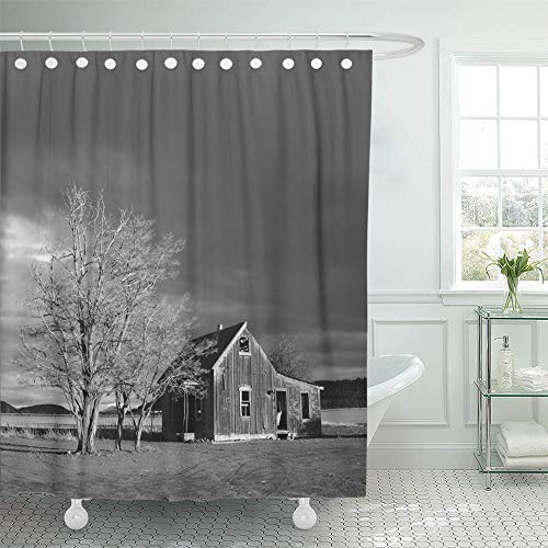 Emvency Shower Curtain Set Waterproof Adjustable Polyester Fabric Abandoned Homestead Near Culver in Central Oregon on Stormy Winter Day 66 x 72 Inches Set with Hooks for Bathroom