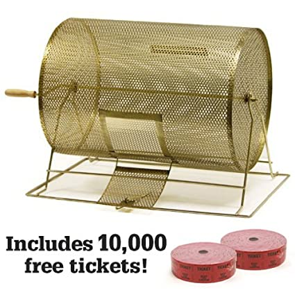 Superbe Large Brass Raffle Drum W/10,000 Free Tickets By Midway Monsters