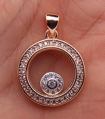 kittipong 18K Gold Filled - Fashion Circle Glass Round Clear Topaz Zircon Party Pendant
