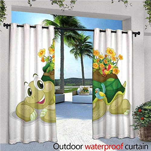 Reptile Outdoor- Free Standing Outdoor Privacy Curtain Funny Floral Turtle Talking with Colorful Humming Birds Tortoise Ninja Home Decoration for Front Porch Covered Patio Gazebo Dock Beach Home W120 for $<!--$75.80-->