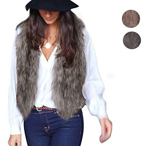 veste Longs Poils Manteau Femmes Pour Sans Marron Gilet À Faux gilet Manches Fur nwzUBqP