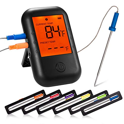 Dessports Meat Thermometer for Grilling Wireless Bluetooth Smart Digital Food Thermometers Instant Read with 6 Stainless Steel Probes for Smoker Cooking BBQ Oven Kitchen