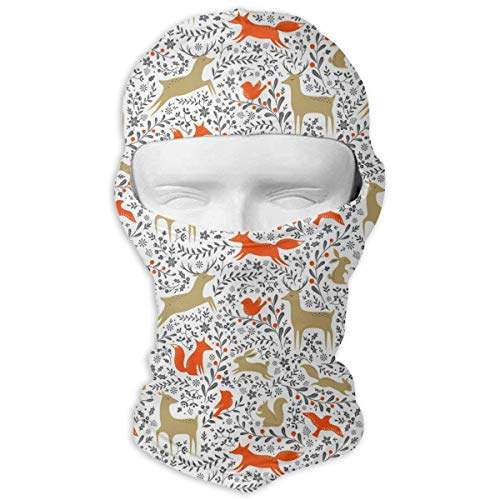 HANBINGPO Christmas Flower Animal Deer Fox Men Women Balaclava Neck Hood Full Face Mask Hat Sunscreen Windproof Breathable