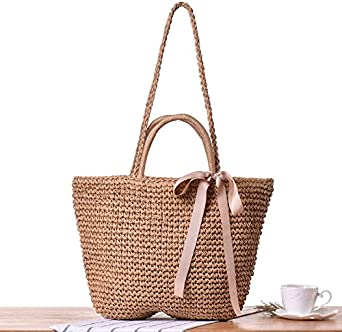 Women Straw Shoulder Bag Summer Beach Bag Tote Bag Cotton Lining Top Handle Shopper Handbag