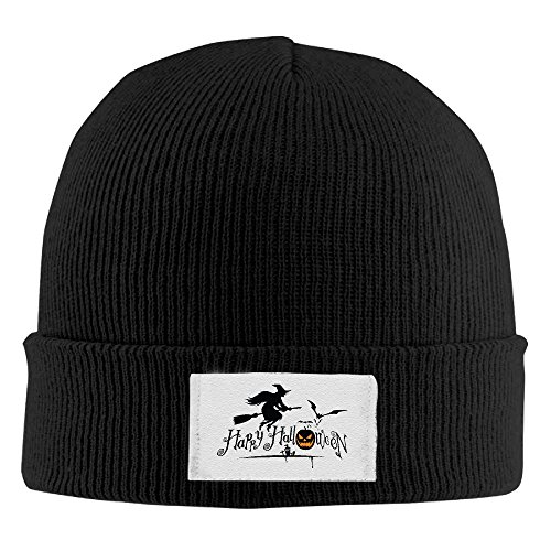 NO4LRM Men Women Happy Halloween Warm Stretchy Knit Wool Beanie Hat Solid Daily Skull Cap Outdoor Winter ()