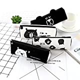 Japanese And Korean Stationery Cartoon Cute Black Bear Canvas Triangle Stationary Bag Child Student Pencil Storage Pen Bags Black-white white-nose bear