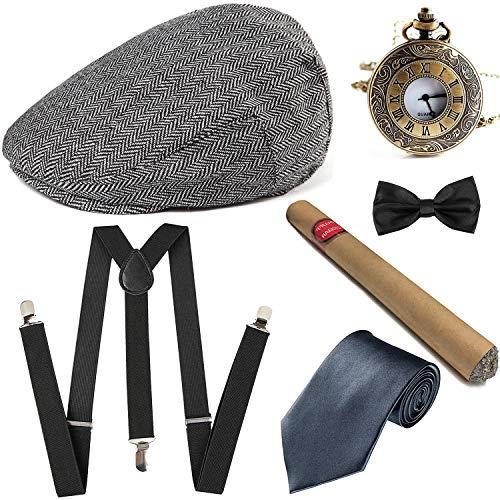 1920s Gatsby Ivy Newsboy Caps w/Pocket Watch,Plastic Cigar,Suspenders Y-Back Trouser Braces,Pre Tied Bow Tie (OneSize, A4) ()