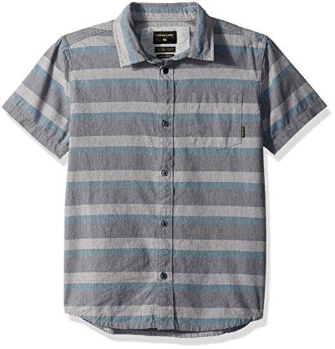 Quiksilver Boys' Big Short Sleeve TAMA Kai Youth Button UP Shirt, Tapestry Stripe, L/14