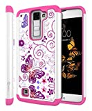 LG K8 Case, LG Escape 3 Case, LG Phoenix 2 Case, Style4U Butterfly Studded Rhinestone Crystal Bling Hybrid Armor Case Cover for LG K8/LG Escape 3/LG Phoenix 2 with 1 Style4U Stylus [White / Hot Pink]