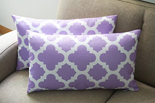 Howarmer Canvas Cotton Throw Pillows Cover for Couch Set of 2 Accent (Lavender Decorative Pillow)