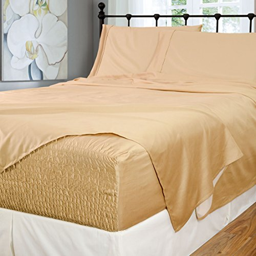 Bed Tite Stretch Fit 500-Thread Count Cotton Rich Super Silky Deep Pocket Sheet Set (California King, Fawn) (Nursery Quilt Clips)