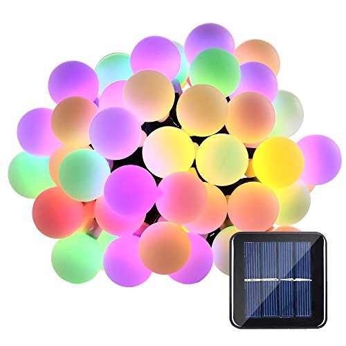 Cheap Solar String Lights Cherry Blossom 23ft 50 LED Waterproof Outdoor Decoration Lighting for Indoor/Outdoor, Patio, Lawn, Garden, Christmas, and Holiday Festivals … (Multi color globe)