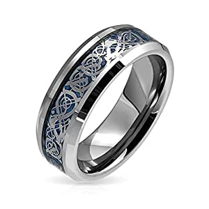 Blue Silver Tone Celtic Knot Dragon Inlay Couples Titanium Wedding Band Rings for Men for Women Comfort Fit 8MM