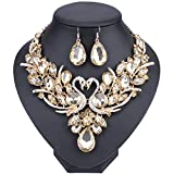 WANG Double Swan Crystal Jewelry Set Brides Necklace Earring Wedding Prom Sets (Champagne)