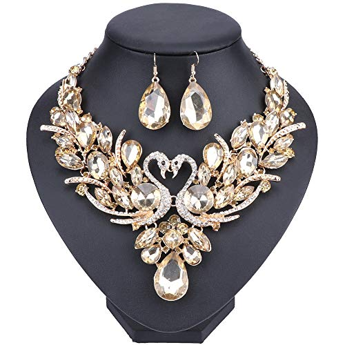 WANG Double Swan Crystal Jewelry Set Brides Necklace Earring Wedding Prom Sets (Champagne) by WANG