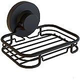 G-Lok Rustproof Black Vacuum Suction Soap Dish Holder for Shower or Bath, Sponge Holder Sink Organizer - Easy Installation and No Drilling Stainless Steel
