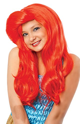 Costume Culture Mermaid Wig, Neon Red, One Size -