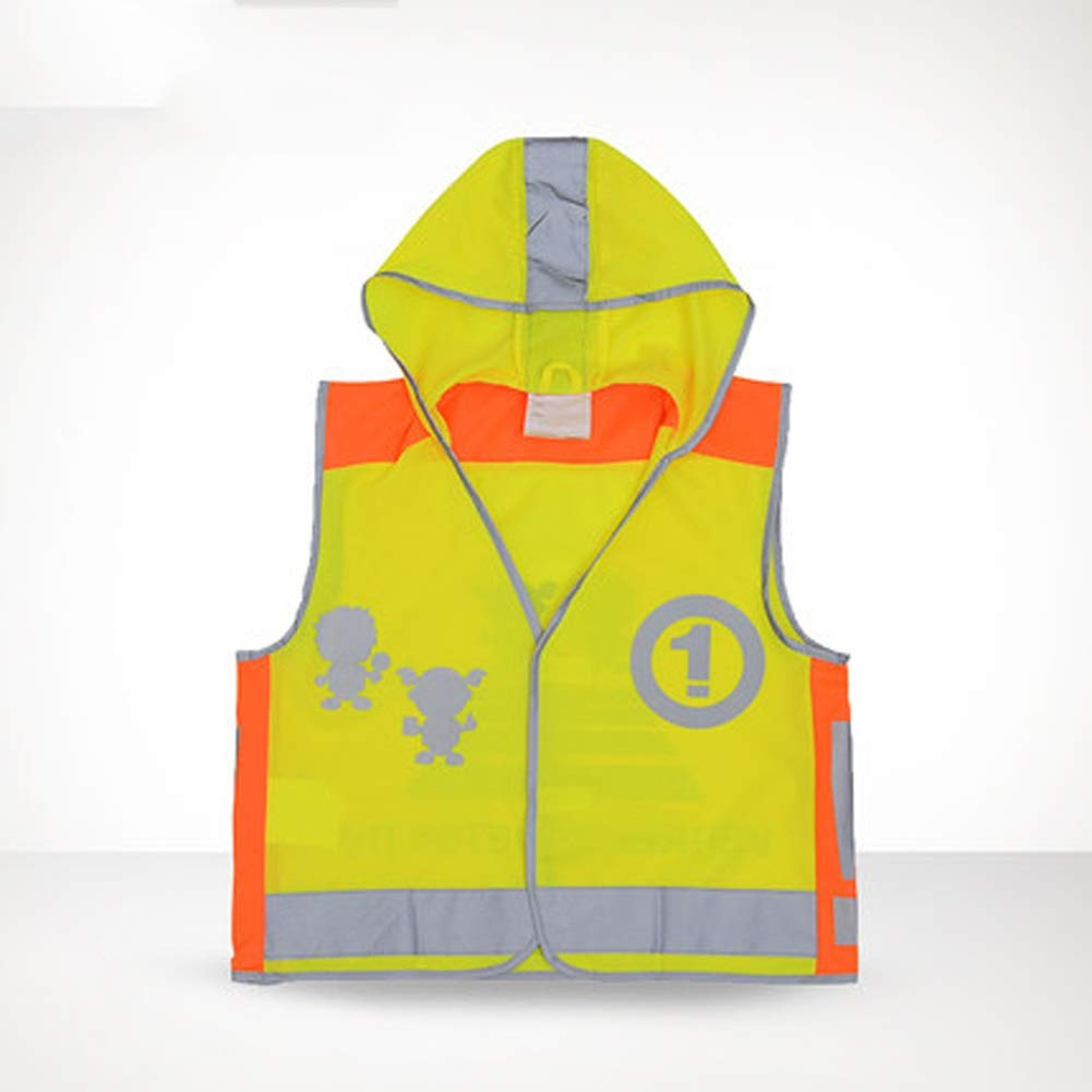 RYYAIYL Kids Hooded Safety Reflective Vest,Bright Colors for Child Public Safety, Hi Viz Safety Coat for Girls& Boyschild Safety Reflective Clothing (Size : L)