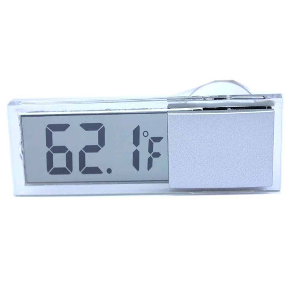 Mini Indoor Car Thermometer with Suction Cup Auto Digital Thermometer LCD Display Multifunctional Vehicle Temperature Gauge(gray) MOOUS
