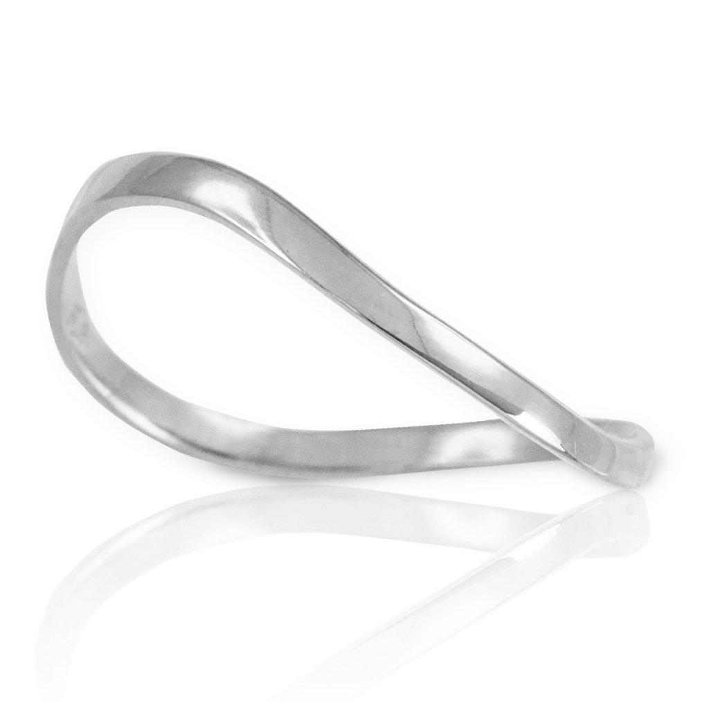 High Polish 14k White Gold Wave Band Thumb Ring (Size 12)