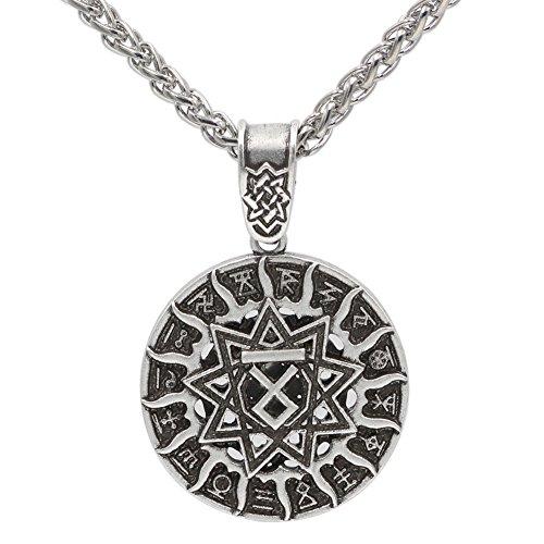 (Xicoh Men Slavic Amulet Pagan Talisman Kolovrat Symbol Pagan Jewelry Sun Wheel Amulet Pendant Necklace)
