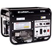 Lifan Pro Series LF3750 Contractor/Commercial Grade 3750 Watt 6.5 HP 196cc 4-Stroke OHV Gas Powered Portable Generator...