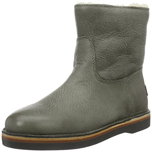 Shabbies WoMen Ladies Short 16cm with Real Wool Lining Alissa Matching Sole Ankle Boots Grey (Sottobosco)