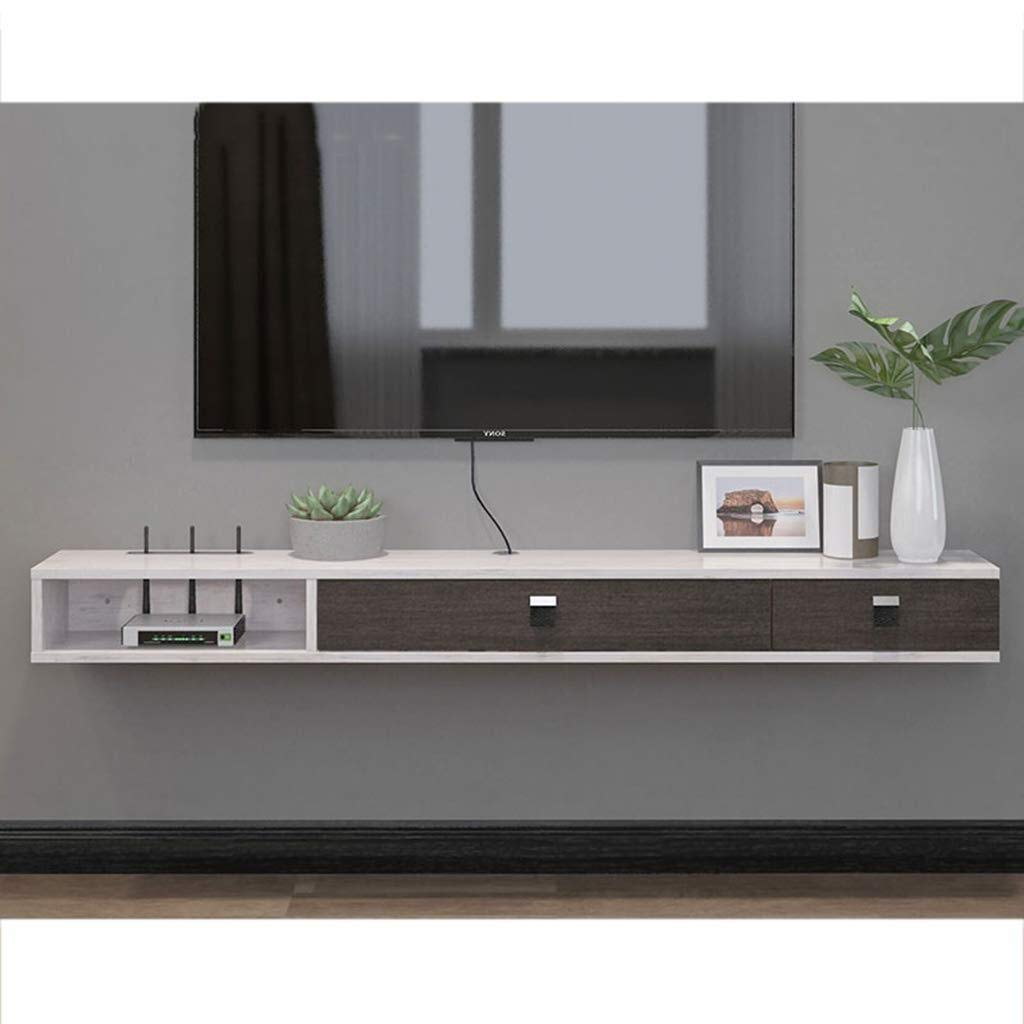 North cool Wall Mounted TV Stand Shelf Rack Cabinet Media Entertainment Console Gaming Shelving Unit with 3 Drawers Home Furniture Floating Shelfs (Color : Gray+Brown) Floating Shelves by North cool