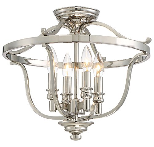 Minka Lavery 3296-6134 4-Light Semi Flush in Polished Nickel w/Clear Glass