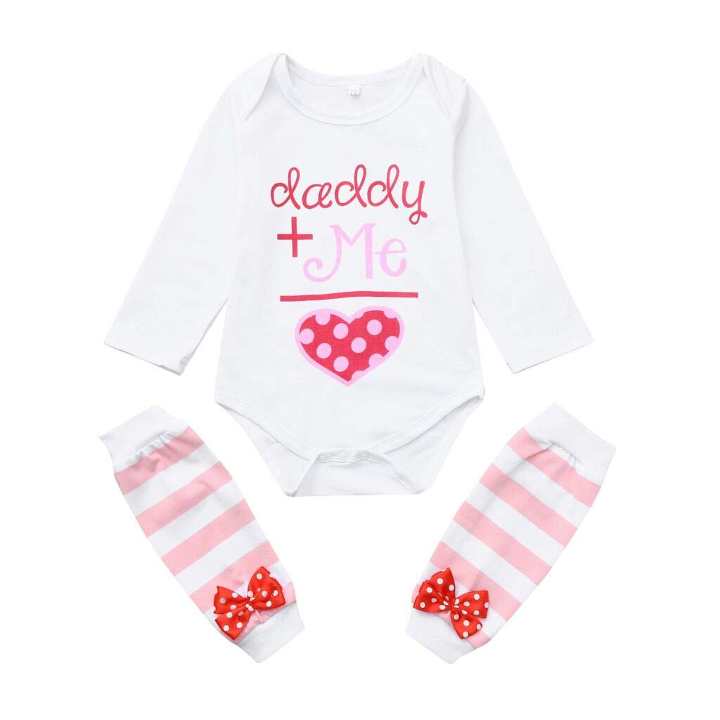 Baby Girl Outfits Set,Kids Letter Print Romper Bow Striped Stockings (6-12 Months, Pink)