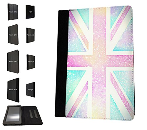 002980 - Vintage Galaxy Union Jack British Flag Design Amazon Kindle Fire 10'' 5TH Generation (2015 Release Only) Flip Case Purse pouch Stand Cover (British Kindle Case compare prices)