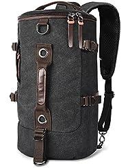 LUXUR Retro Duffel Cylinder Bag Canvas Travel Backpack for Men Hiking Luggage Weekend Bag, Black