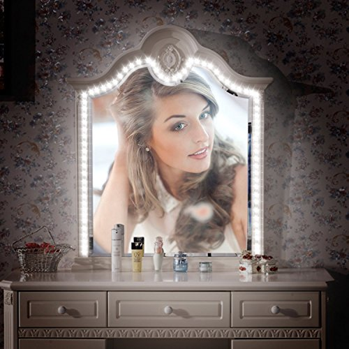 LED Vanity Mirror Lights Kit with Dimmable Lighting, 13.1ft Flexible LED Light Strip, 240 LEDs Make-up Vanity Mirror Light for Vanity Makeup Table Set with Dimmer and Power Supply, Mirror not Included (And Mirror Desk With Lights)
