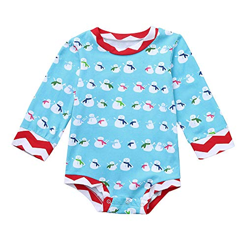(Infant Baby Boys Girls Xmas Party Outfit Clothes Christmas Snowman Print Jumpsuit Romper (3-4 Years, Blue))