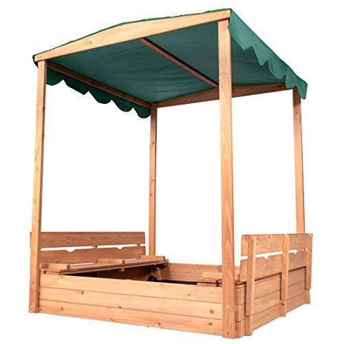 "Good Life Outdoor Canopy Sandbox with Covered and Bench Seats Kids Play Sand for Sand Box Toys Wood Natural Color 47"" x 47"" Size"