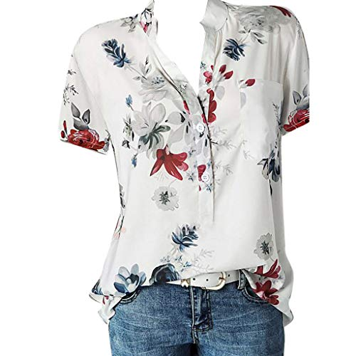 Short Sleeve Tee Blouse for Women Button-Down T Shirts V-Neck Floral Print Casual Tops Plus Size S-5XL Chaofanjiancai White