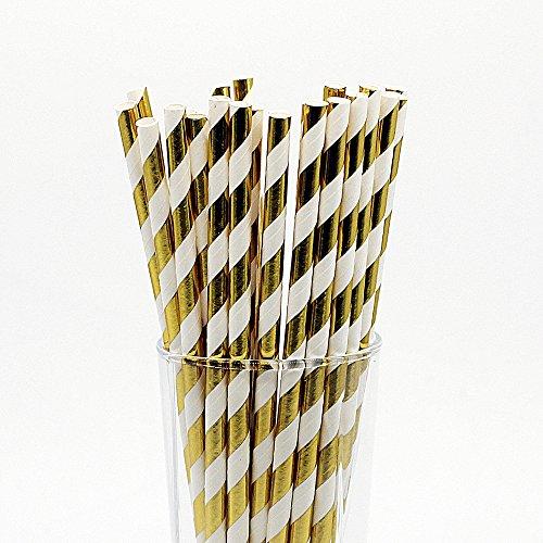 CTIGERS Metallic Gold Striped Paper Straws Pack of 25