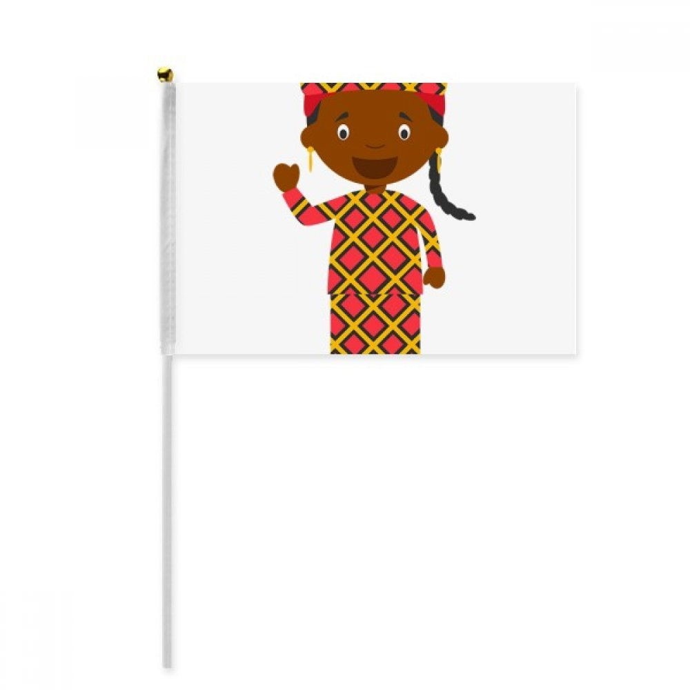 Black Wild Mali Cartoon Hand Waving Flag 8x5 inch Polyester Sport Event Procession Parade 4pcs