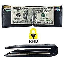 Mens RFID Blocking Slim Bifold Leather Front Pocket Wallet Money Clip USD Version