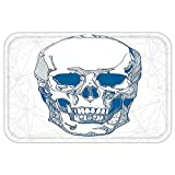 VROSELV Custom Door MatSkull Hand Drawn Human Skull with Science ElementBackground Medical Theme Illustration Blue White