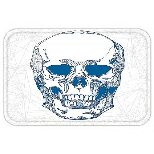 VROSELV Custom Door MatSkull Hand Drawn Human Skull with Science ElementBackground Medical Theme Illustration Blue White by VROSELV