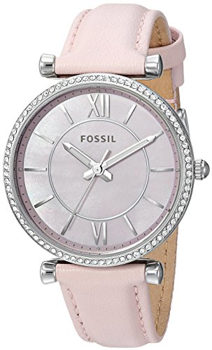 (Fossil Women's 'Carlie' Quartz Stainless Steel and Leather Casual Watch, Color:Pink (Model: ES4347))