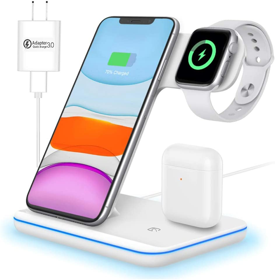 Wireless Charger,Any Warphone 3 in 1 Wireless Charging Stand for Latest Airpods iPhone and iWatch, Wireless Compatible for iPhone 11/11 Pro Max/X/XS Max/8 Apple Watch Charger 5 4 3 2 1 Airpods 3 2 1