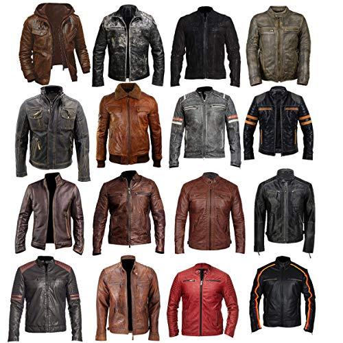 Mens Triple Stitch Cafe Racer Vintage Biker Antique Distressed Brown Motorcycle Leather Jacket ()
