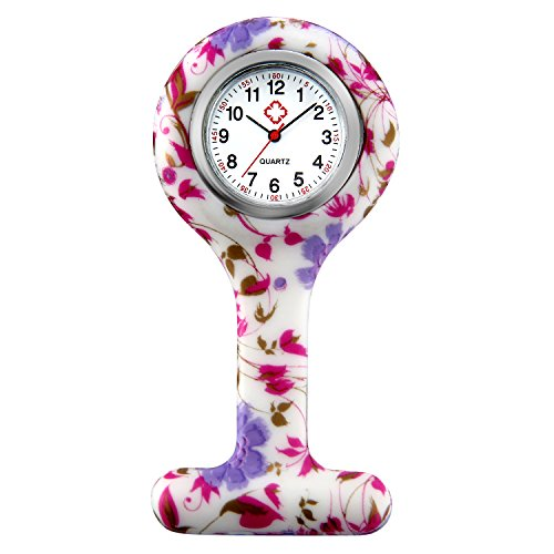 Women Girls Nurse Watches Hygienic Lapel Pin-on Brooch Flower Silicone Cover Medical Doctor Paramedic Hanging Fob Watch