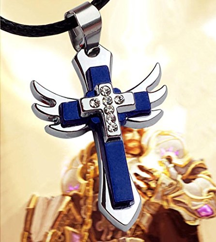 Botrong® Personality Men Titanium Steel Cross Wing Pendant Necklace Gifts (Blue)