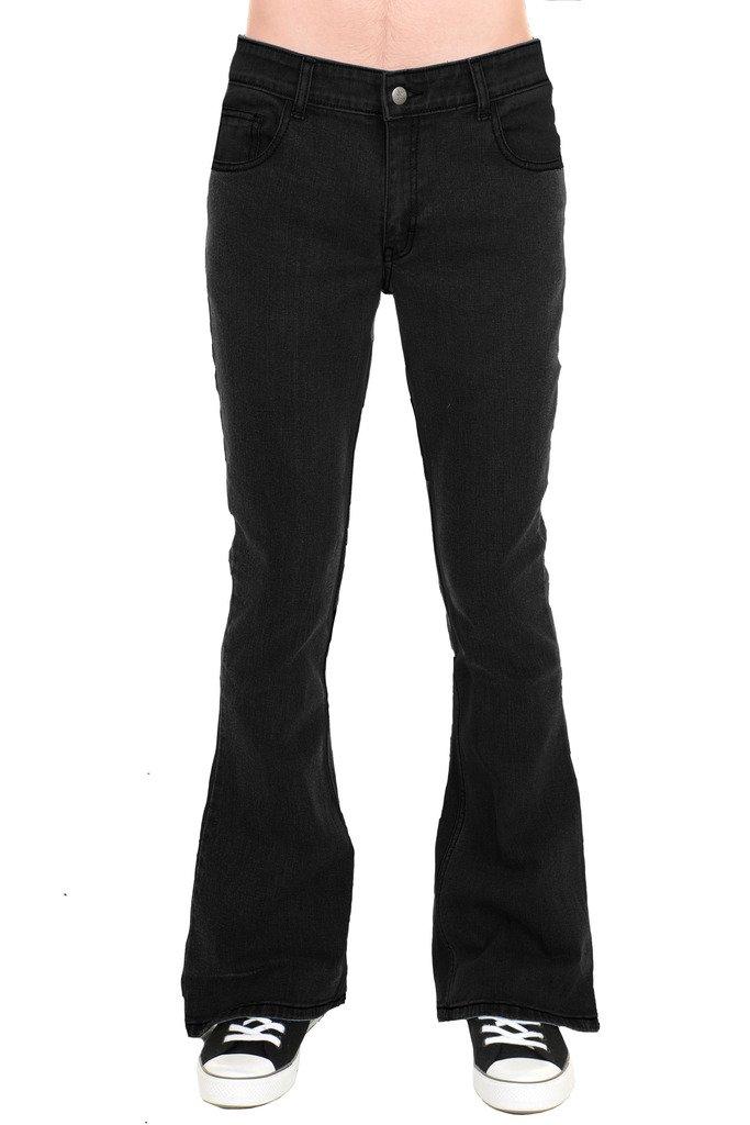 Vintage Dresses Australia- 20s, 30s, 40s, 50s, 60s, 70s Run & Fly Mens 70s Retro Black Stretch Denim Rock N Roll Bell Bottom Flares AUD 90.38 AT vintagedancer.com