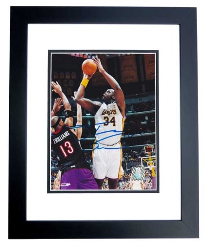 Shaquille O'Neal Signed - Autographed Los Angeles Lakers 8x10 inch Photo BLACK CUSTOM FRAME